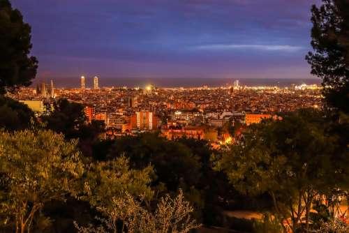 Panorama City Evening Skyline In The Evening