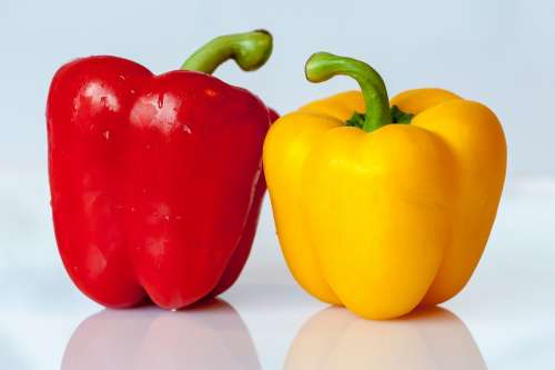 Paprika Vegetables Yellow Red Food Eat