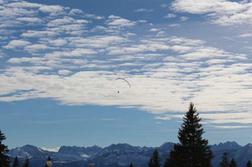 Paraglider Mountains Flying Paragliding Mountain