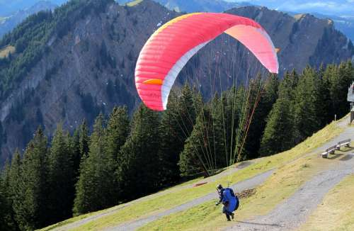 Paragliding Start Mountain World Forest Mountains