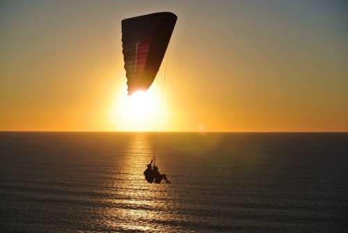 Paragliding Ocean Sunset Paraglider Sky Sea