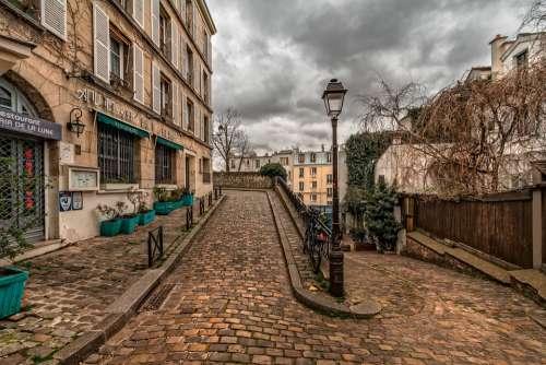 Paris Montmartre Path Pavement Old Town Street