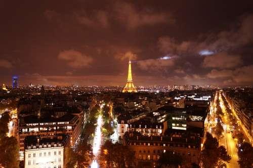 Paris Eiffel Tower City Night Capital Architecture