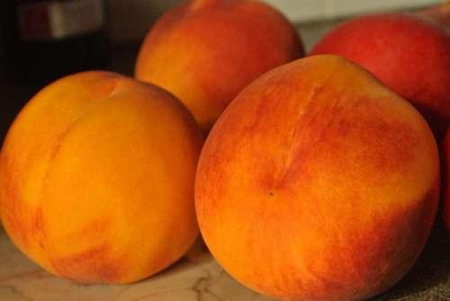 Peaches Orange Fruit Healthy Sweet Ripe Fresh