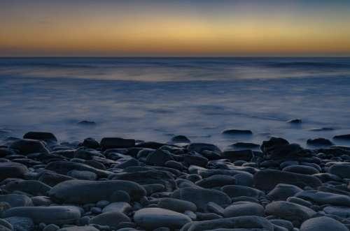 Pebbles Sea Sunset Calm Stone Ocean Zen Tranquil