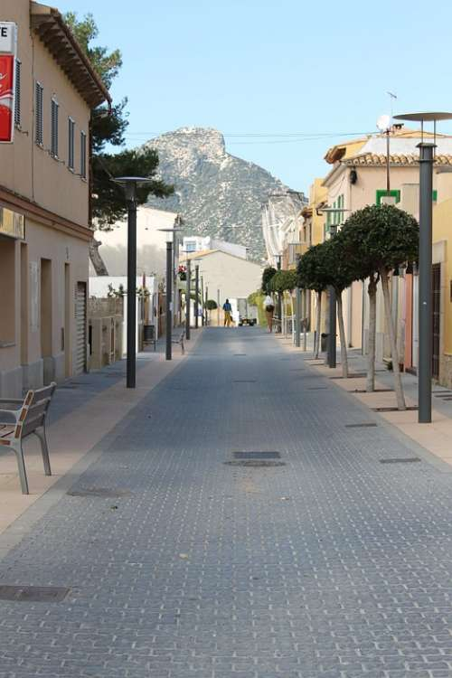 Pedestrian Zone City Spain Downtown Facades Summer