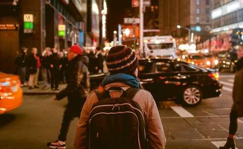 People Walking City Urban Knapsack Pedestrians