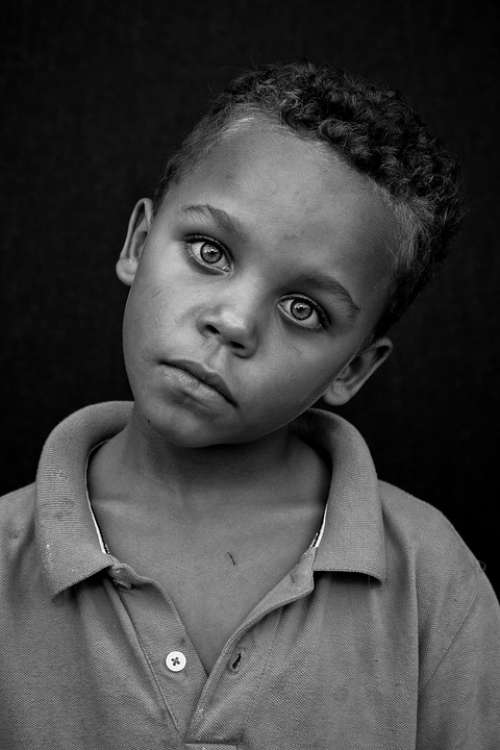 People Portrait Child Poverty Male Black And White
