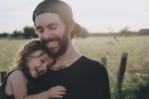 People Father Daughter Smile Happy Hug Carry