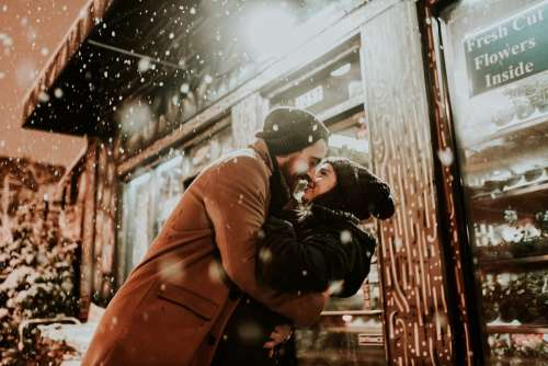 People Man Woman Cold Weather Couple Kiss Love