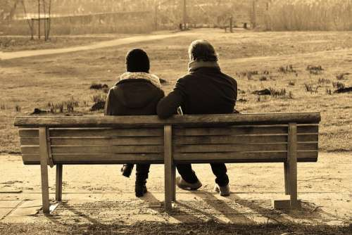 People Man Woman Couple Sitting Together Bench