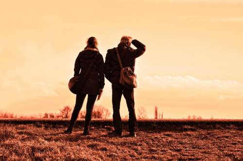 People Travelers Together Standing Destination