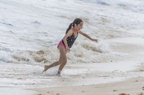 People Person Girl Running Ocean Waves Foamy