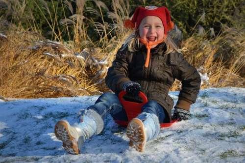 People Child Girl Snow Hat Winter Fun Laugh