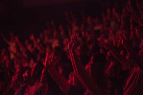 People Crowd Concert Show Spectators Fun Hands