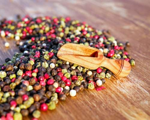 Pepper Peppercorns Spices Sharp Grains Colorful