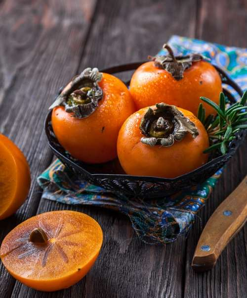 Persimmon Fruit Orange Exotic Tropical