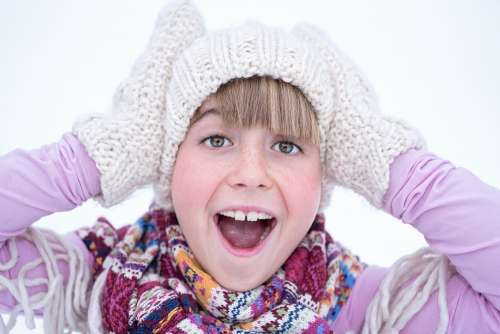 Person Human Female Girl Winter Cap Gloves Face