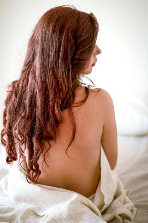Person Woman Girl Bed Hair Sexy Nude Brunette