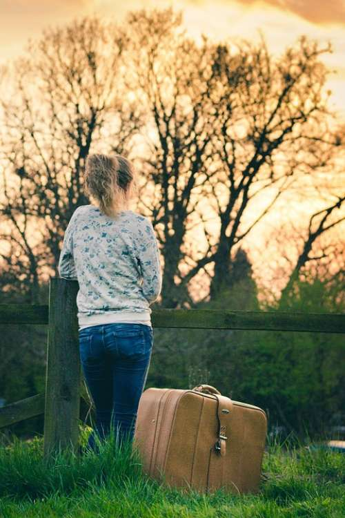 Person Girl Young Woman Suitcase Waiting Leaving