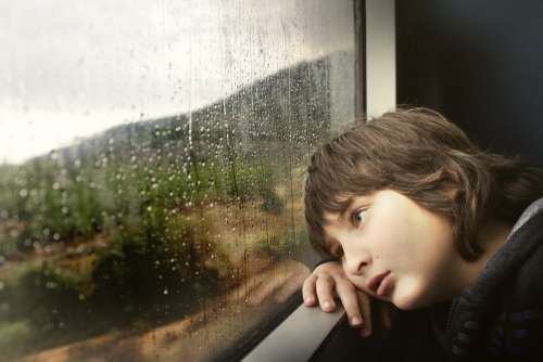 Person Little Boy Kid Child Inside Train Rail
