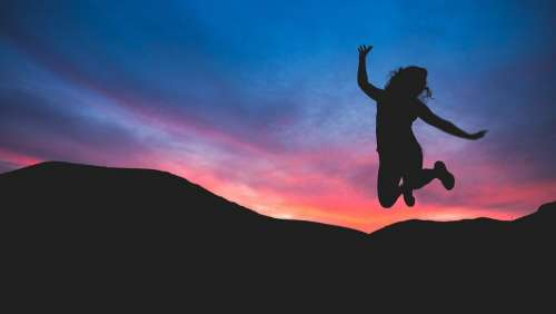 Person Jumping Silhouette Evening Sunset Colorful