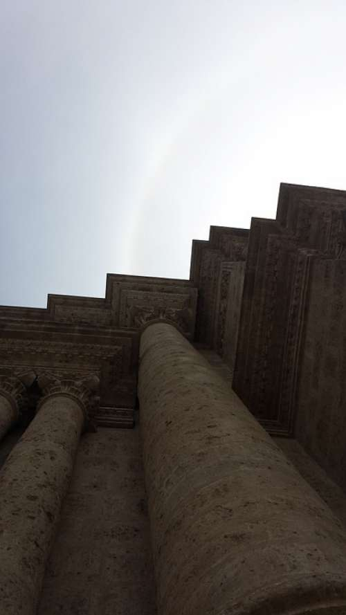 Perspective Sun Ray Columns Pillars Cathedral