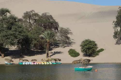 Peru Desert Oasis Sand Landscape Huacachina Dry