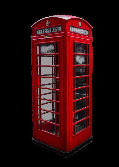 Phone Booth English Isolated Red London Phone