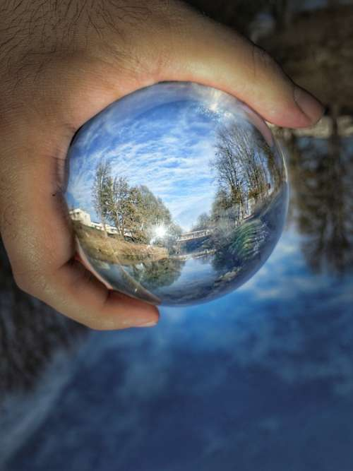 Photo Sphere Nature Glass Ball Photo Blue
