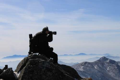 Photographer Photographers Man Snow Mountain