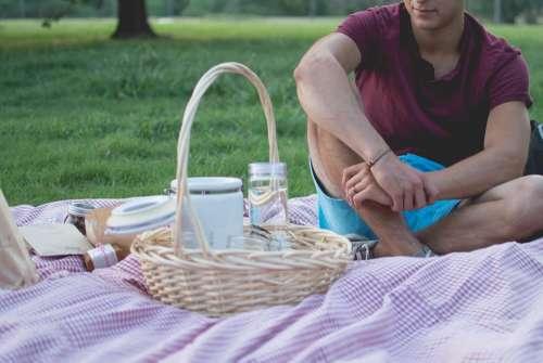 Picnic Man Basket Meal Food Blanket Park Outdoor