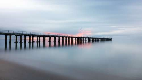 Pier Jetty Sunset Sea Ocean Horizon Calm Water