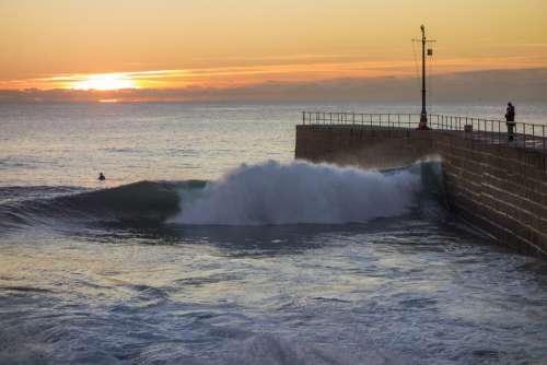 Pier Sunset Wave Sea Ocean Sun Sky Beach Coast