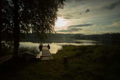 Pier Lake Beach Sunset Sun Lake In Finland