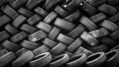 Pile Tires Rubber Stacked Used Recycling
