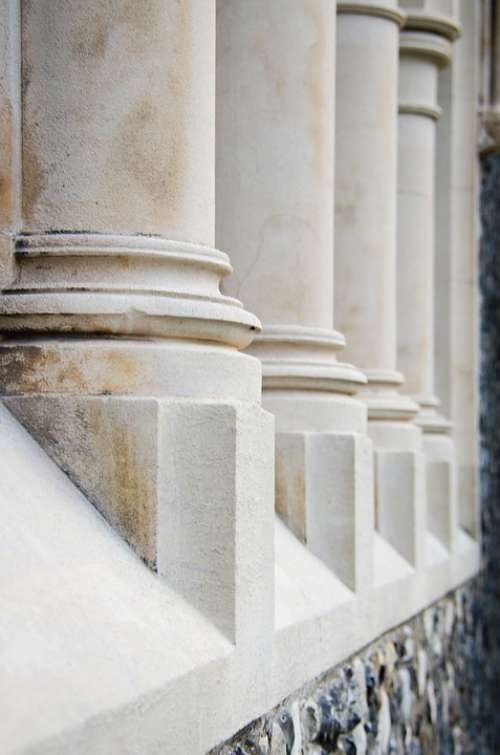 Pillars White Building Columns Stone Architecture