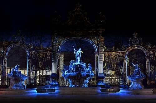 Place Stanislas Nancy Fountain Neptune Night Blue