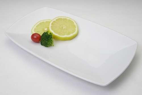 Plate Lemon Yellow Vegetable Decoration Food