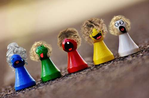 Play Stone Colorful Smilies Funny Faces Figures