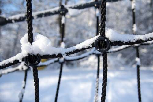 Playground Klätternät Snow Winter Cold Nature