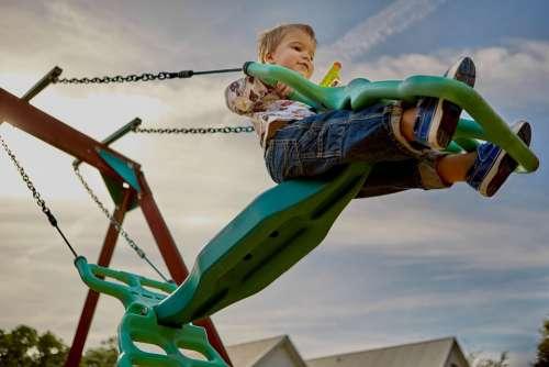 Playground Swing Swinging Young Child Kid Boy