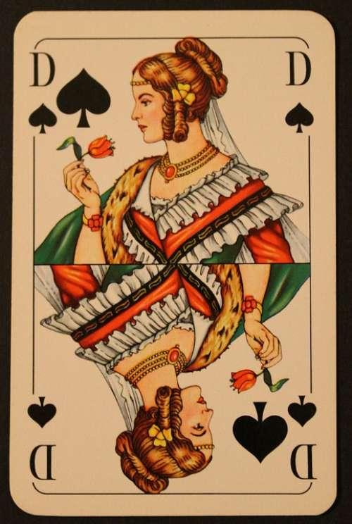Playing Card Map Card Game Pik Lady Play