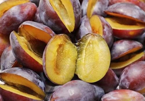 Plums Half Fruit Fruit Fruits Ripe Violet Food