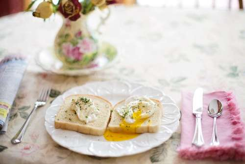 Poached Eggs On Toast Breakfast Healthy Brunch