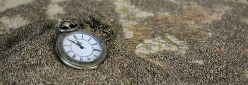 Pocket Watch Time Of Sand Map Of The World Time
