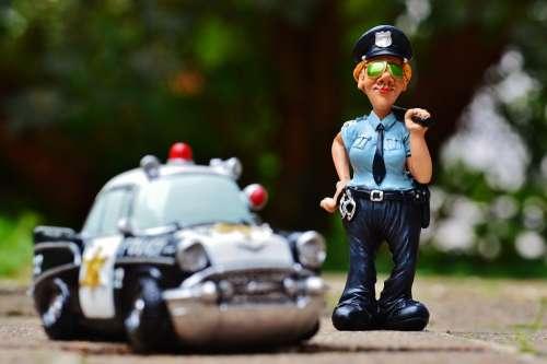 Policewoman Police Police Car Figure Funny Fun