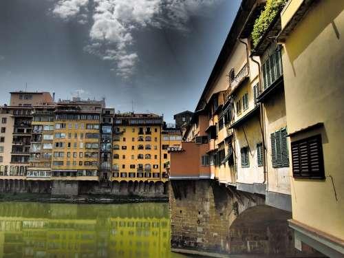 Ponte Vecchio Florence Sky Places Of Interest Arno