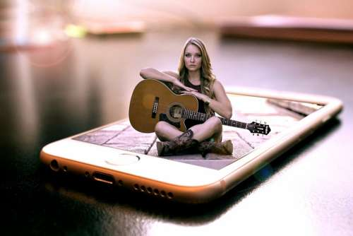Pop Out Mobile Phone Guitar Woman Fantasy Girl