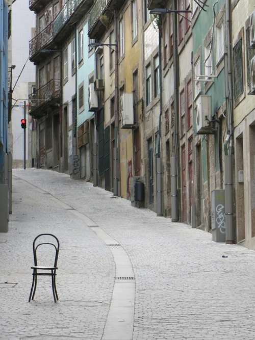 Porto Chair Alley Vintage City Portugal Front